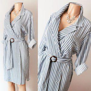 Zara Blue Stripe Belted Wrap Button Shirt Dress